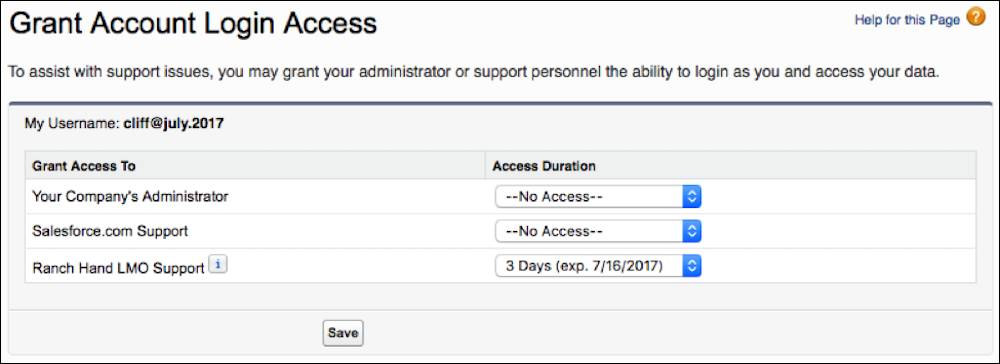The Grant Account Login Access Page, where your customer grants you access to their org