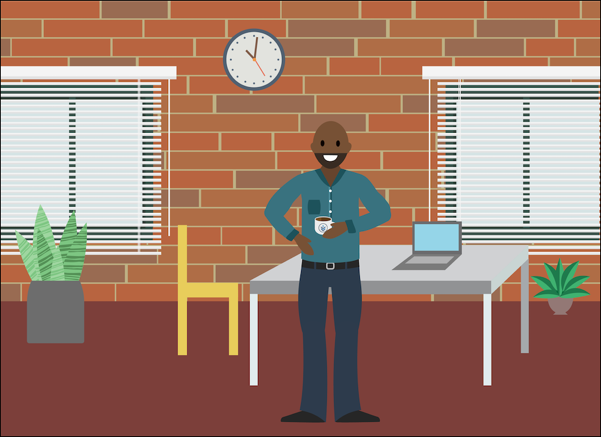 Calvin an seinem Schreibtisch bei Zephyrus mit seinem Vetforce-Kaffeebecher