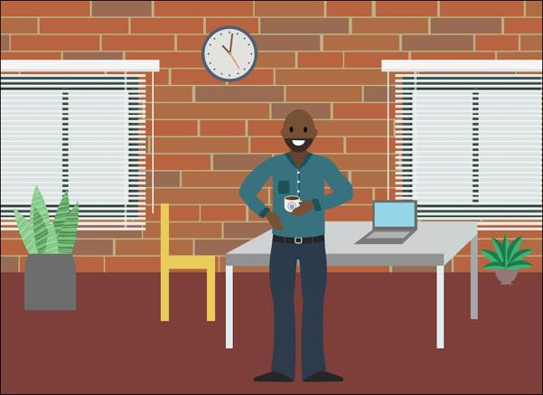 Calvin debout près de son bureau chez Zephyrus, tenant sa tasse à café Vetforce.