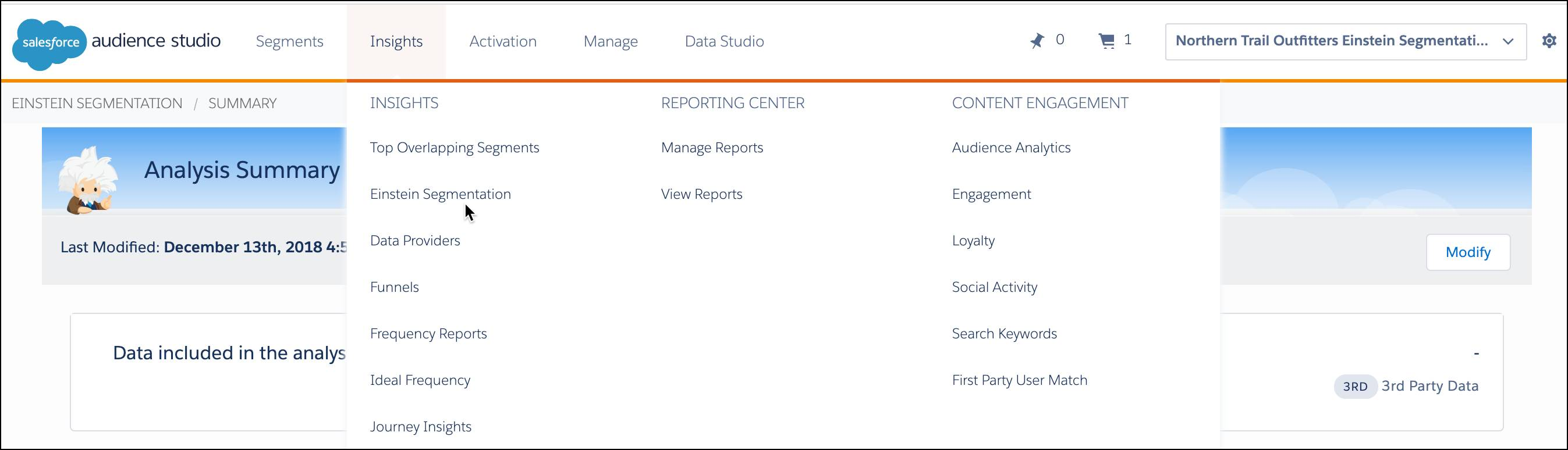 Audience Studio home page with Einstein Segmentation selected from the Insights dropdown menu.