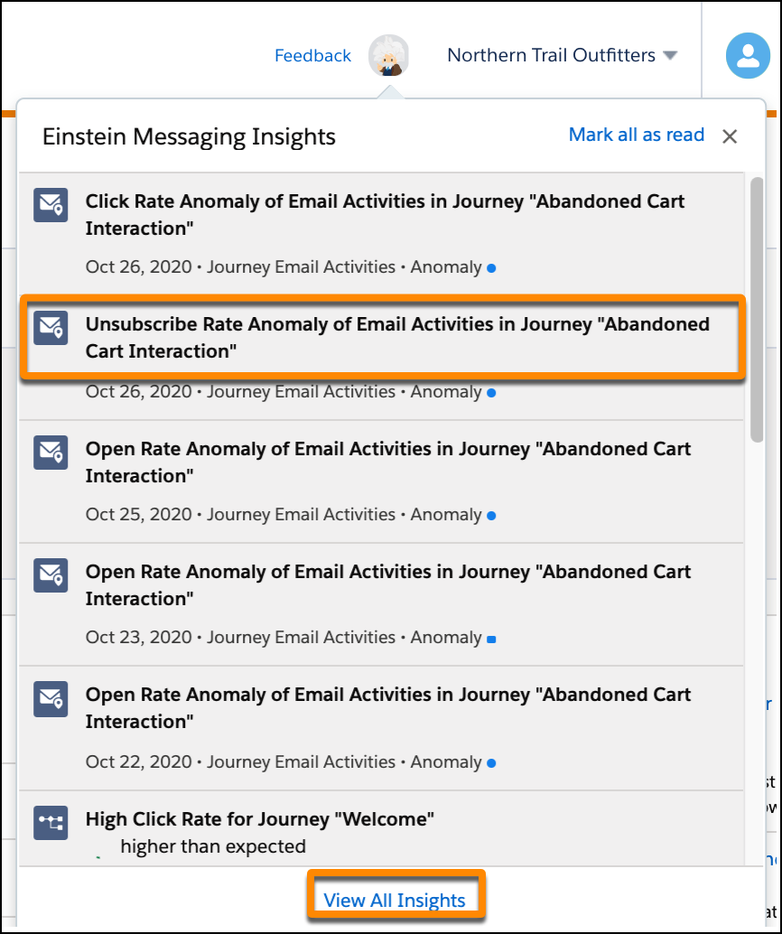 Einstein insights popup with the View All Insights circle