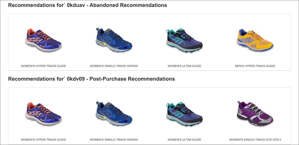 Example of product recommendation of shoes.