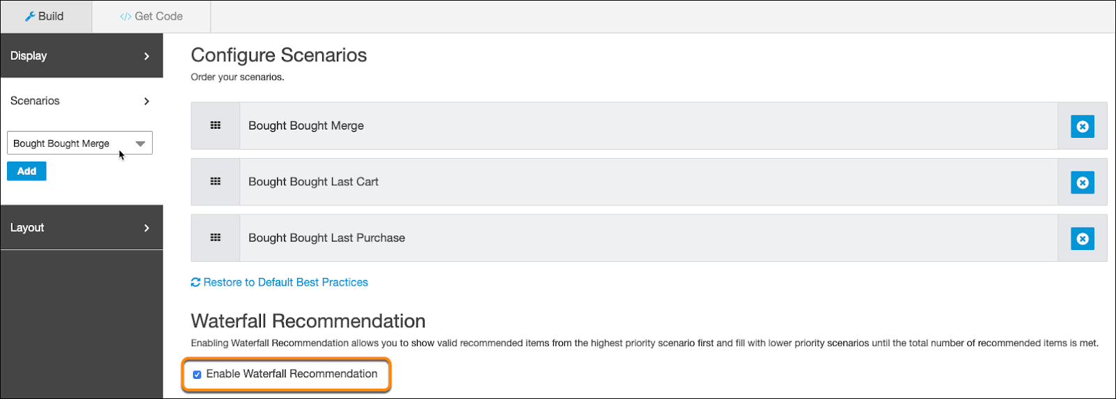 Configure scenarios with enable waterfall recommendations circled and the cursor on Bought Bought Merge.