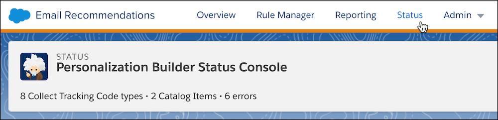 Personalization Builder status console.