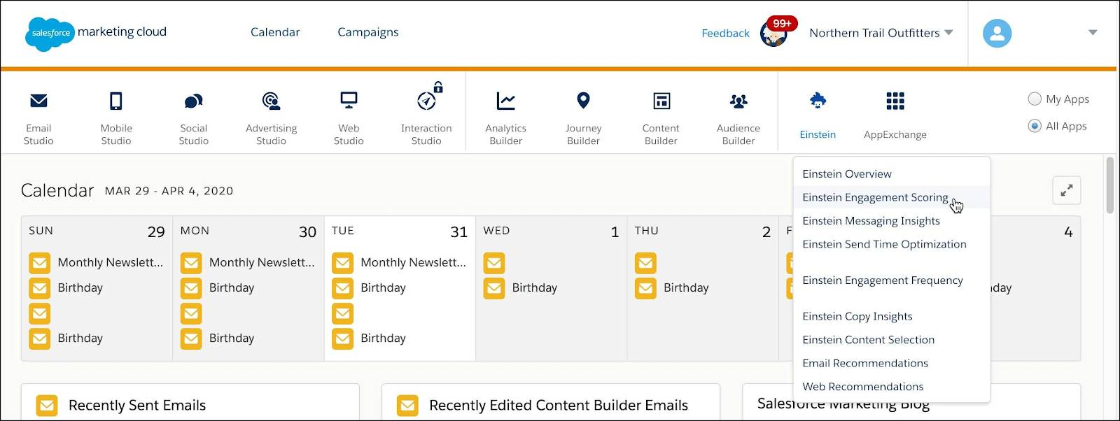 Hovering over Analytics Builder navigation item, showing dropdown options of Web & Mobile Analytics, Reports, Einstein Engagement Frequency, and Einstein Engagement Scoring