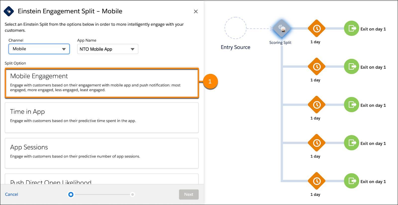 Mobile Engagement split option circled