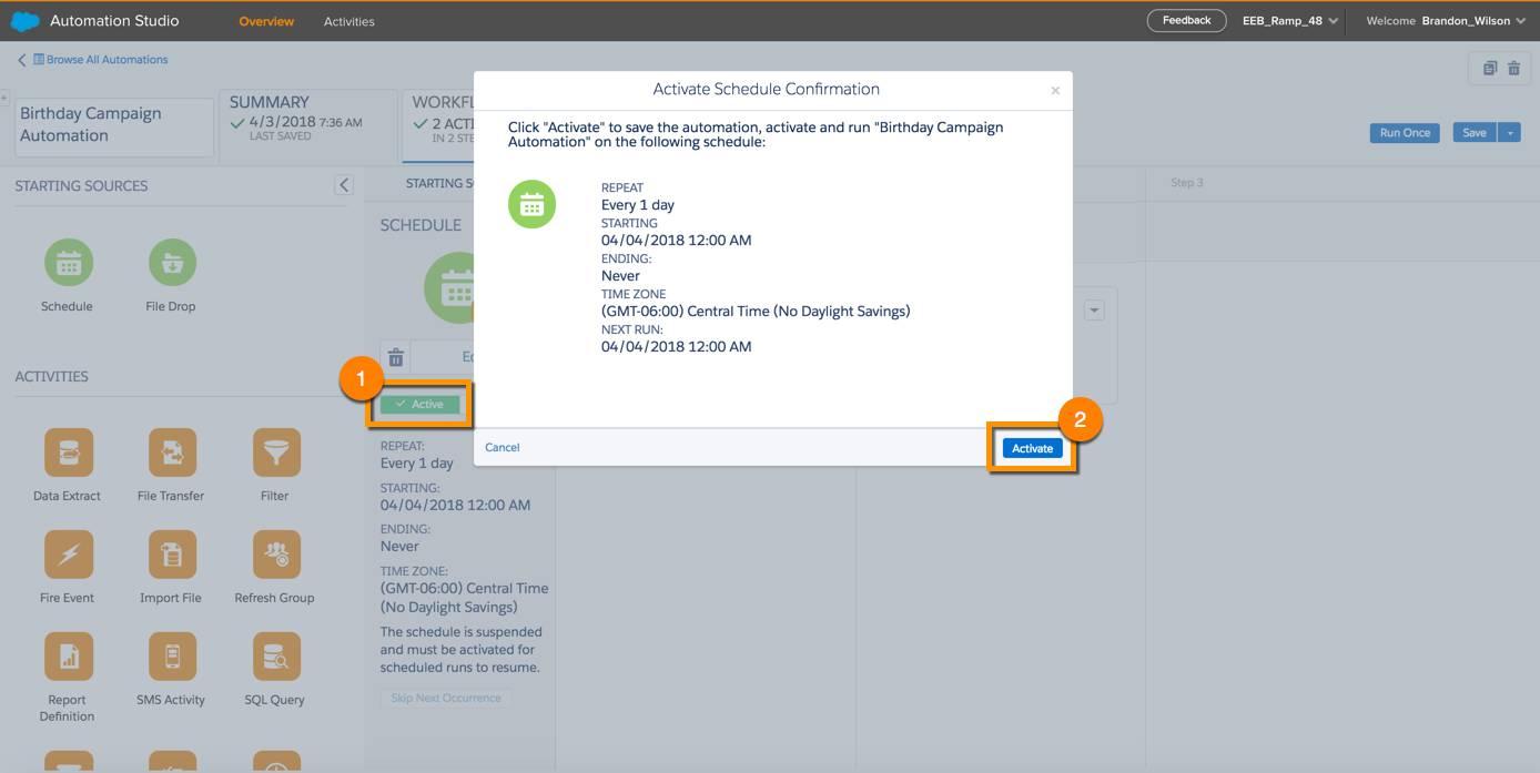 Tela que mostra o botão de confirmação do agendamento e de ativação da automação.