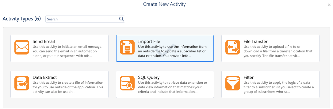 The import file activity type selected in Automation Studio activities.