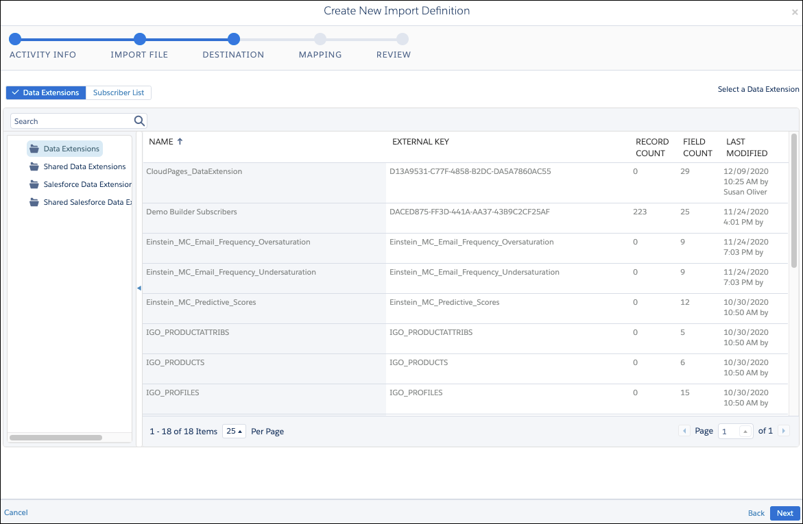 The selected file destination for the import activity in Automation Studio Activities.