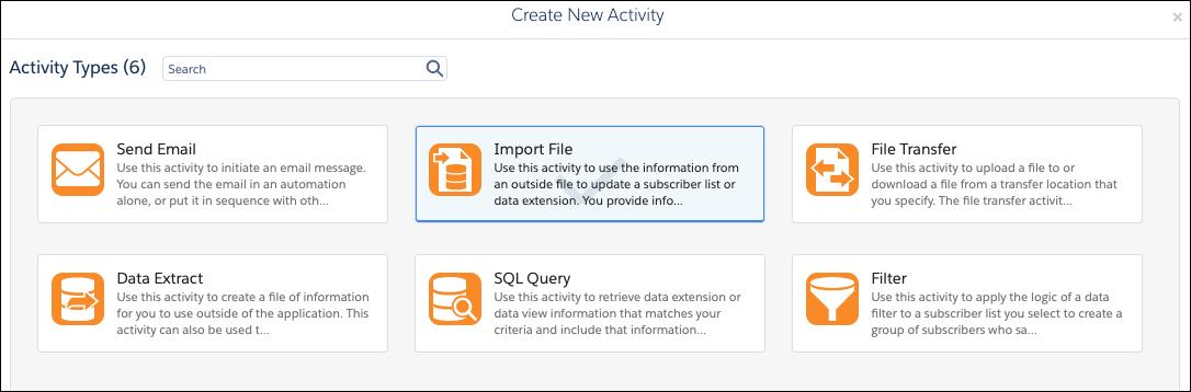 Automation Studio のアクションでファイルのインポートという種別のアクティビティが選択されています。
