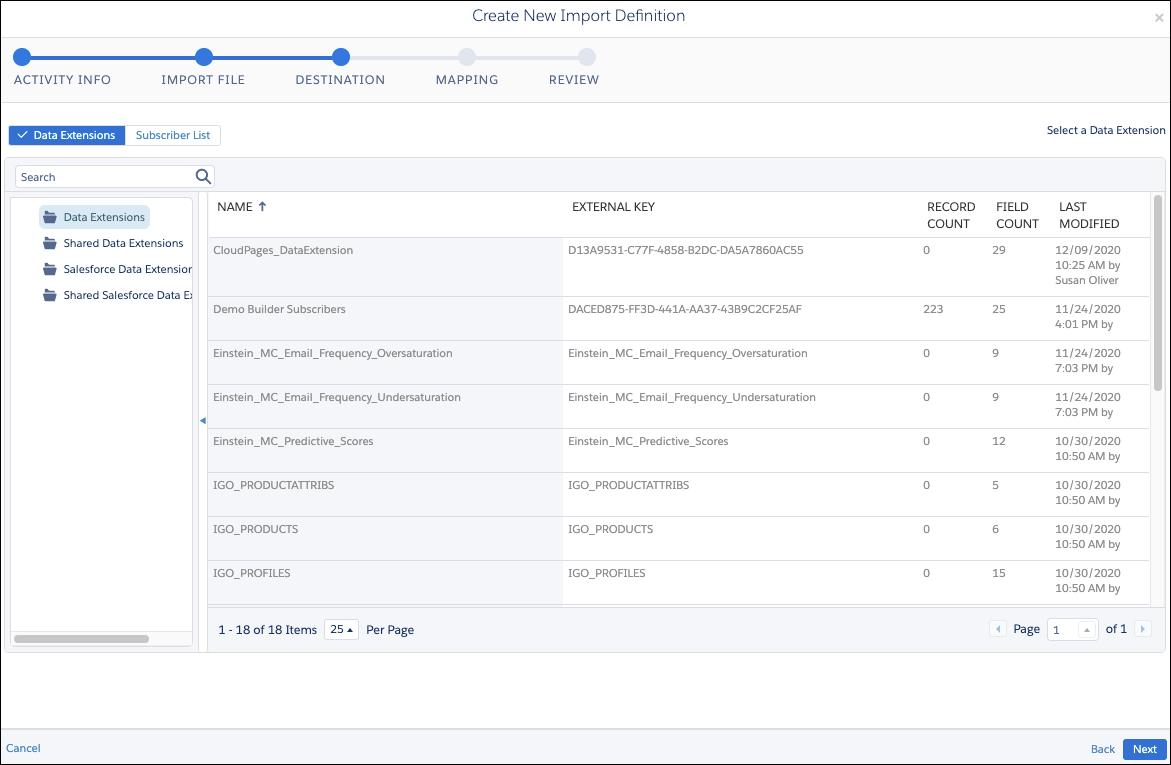 Automation Studio の [アクティビティ] にあるファイルのインポートアクティビティに選択されたファイルのインポート先