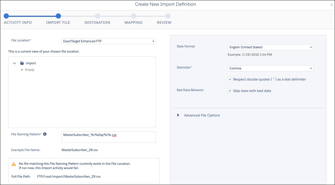 Automation Studio の [アクティビティ] にあるファイルのインポートアクティビティに [ファイルの命名パターン] が追加されています。