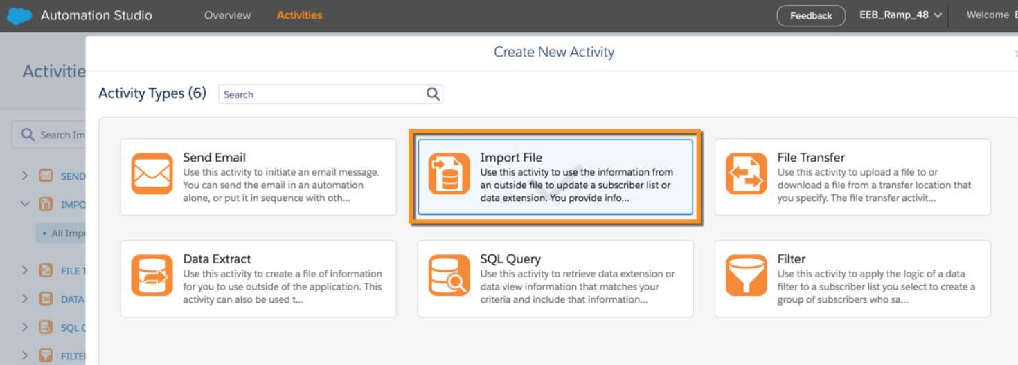 O tipo de atividade de importação de arquivo selecionado nas atividades do Automation Studio.