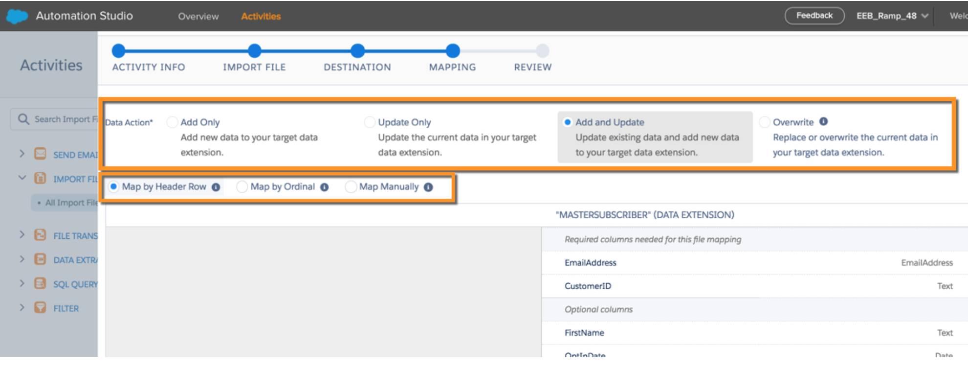 Mapeamento do arquivo importado para um destino específico nas atividades do Automation Studio.