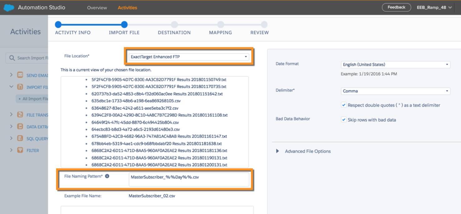 O padrão de nomeação de arquivo adicionado à atividade de importação do arquivo nas atividades do Automation Studio.