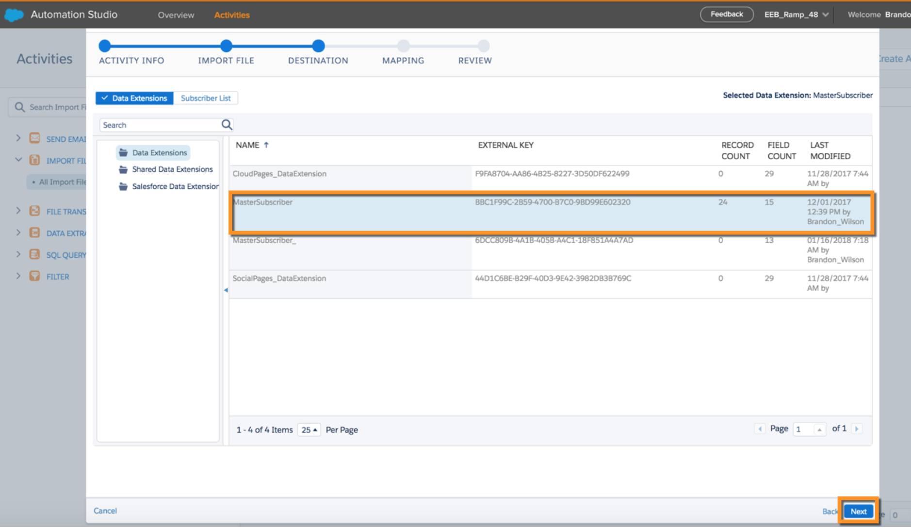 O destino do arquivo selecionado para a atividade de importação nas atividades do Automation Studio.