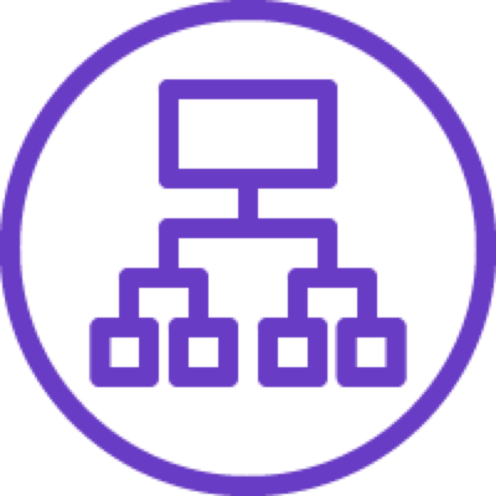 Application Load Balancer icon depicting a computer connected to four small squares