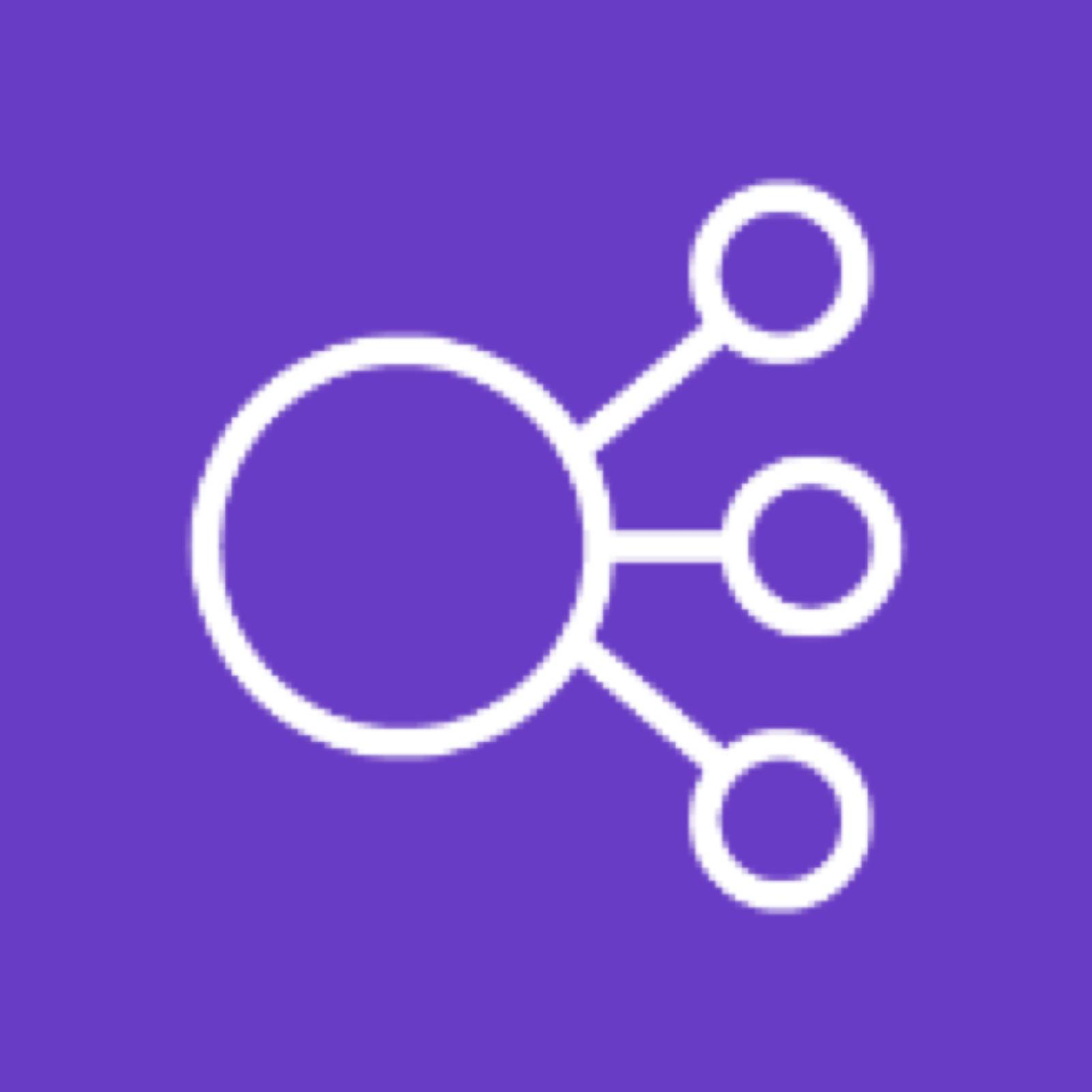Elastic Load Balancing icon depicting a circle connected to three smaller circles against a purple background