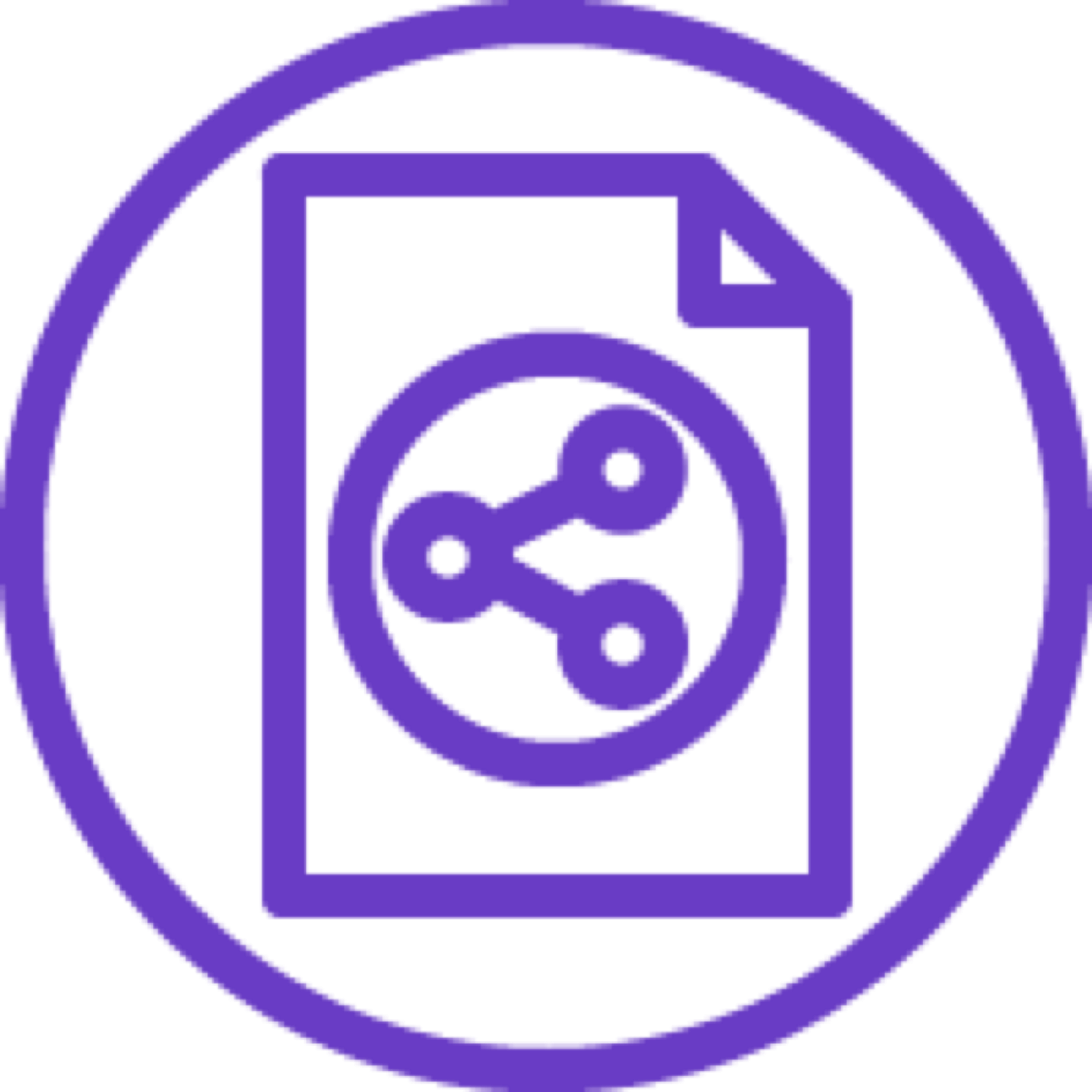 Classic Load Balancer icon depicting a document with three connected circles inside a larger circle