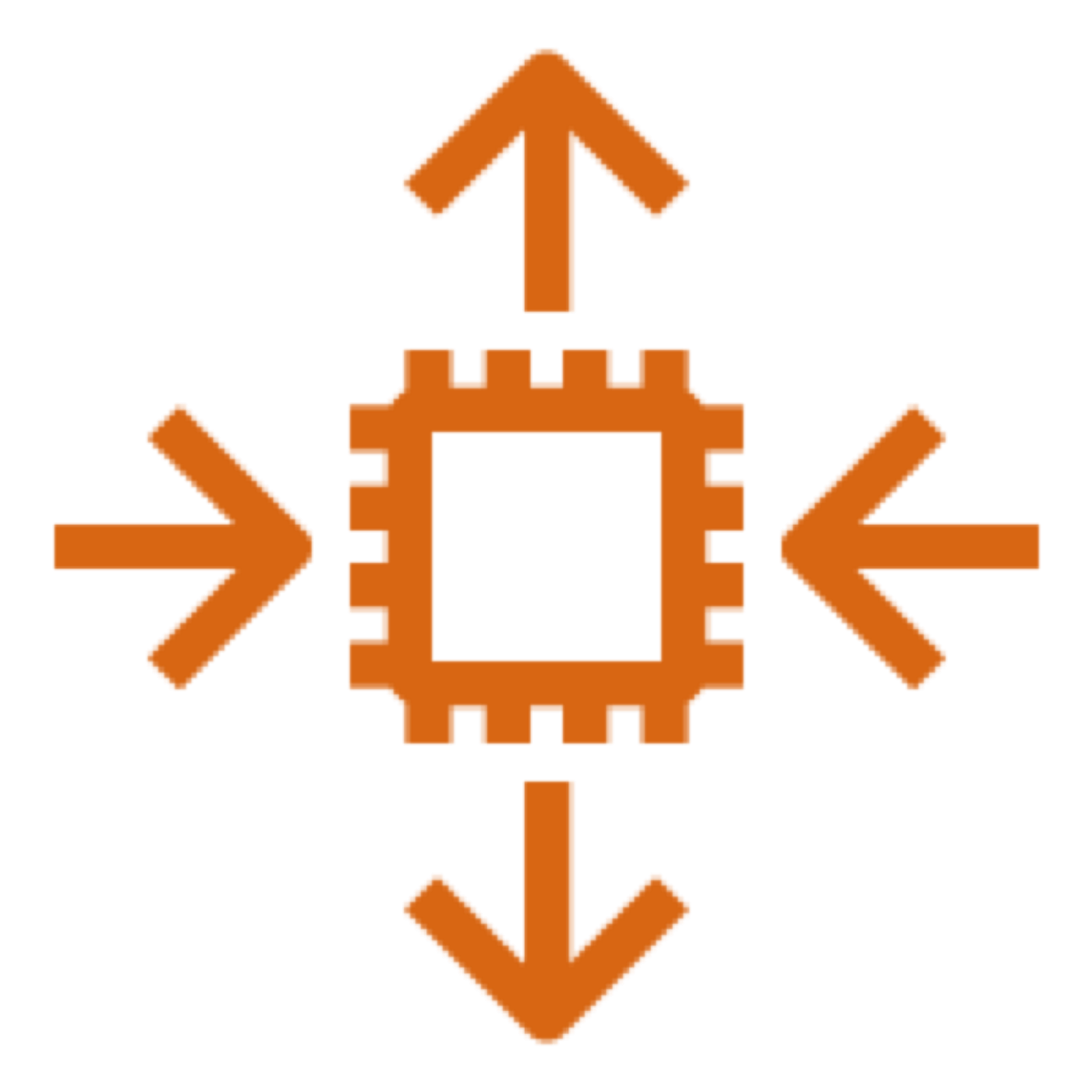 Amazon EC2 Auto Scaling icon depicting a computer chip with horizontal arrows pointing toward it and vertical arrows pointing away from it, representing the ability to scale in or out