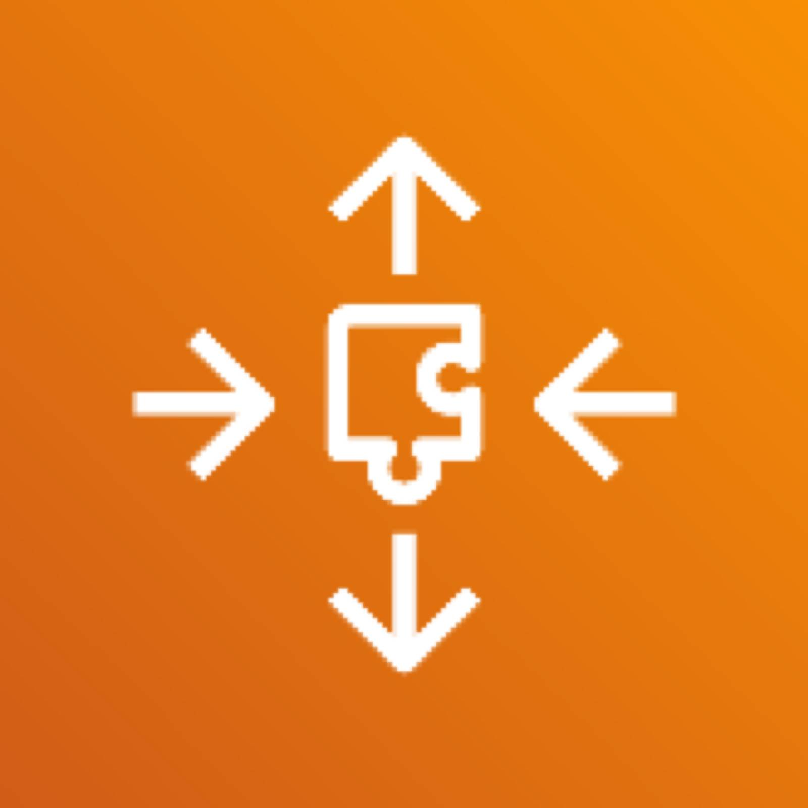 AWS Application Auto Scaling icon depicting a puzzle piece with horizontal arrows pointing toward it and vertical arrows pointing away, against an orange background