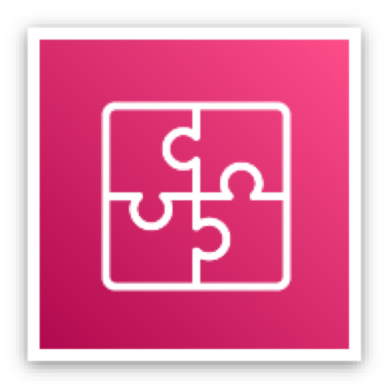 Application integration services icon depicting a square consisting of four connected puzzle pieces against a pink background