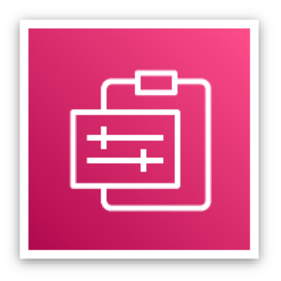 Management and Governance icon depicting a clipboard and slide switches against a pink background