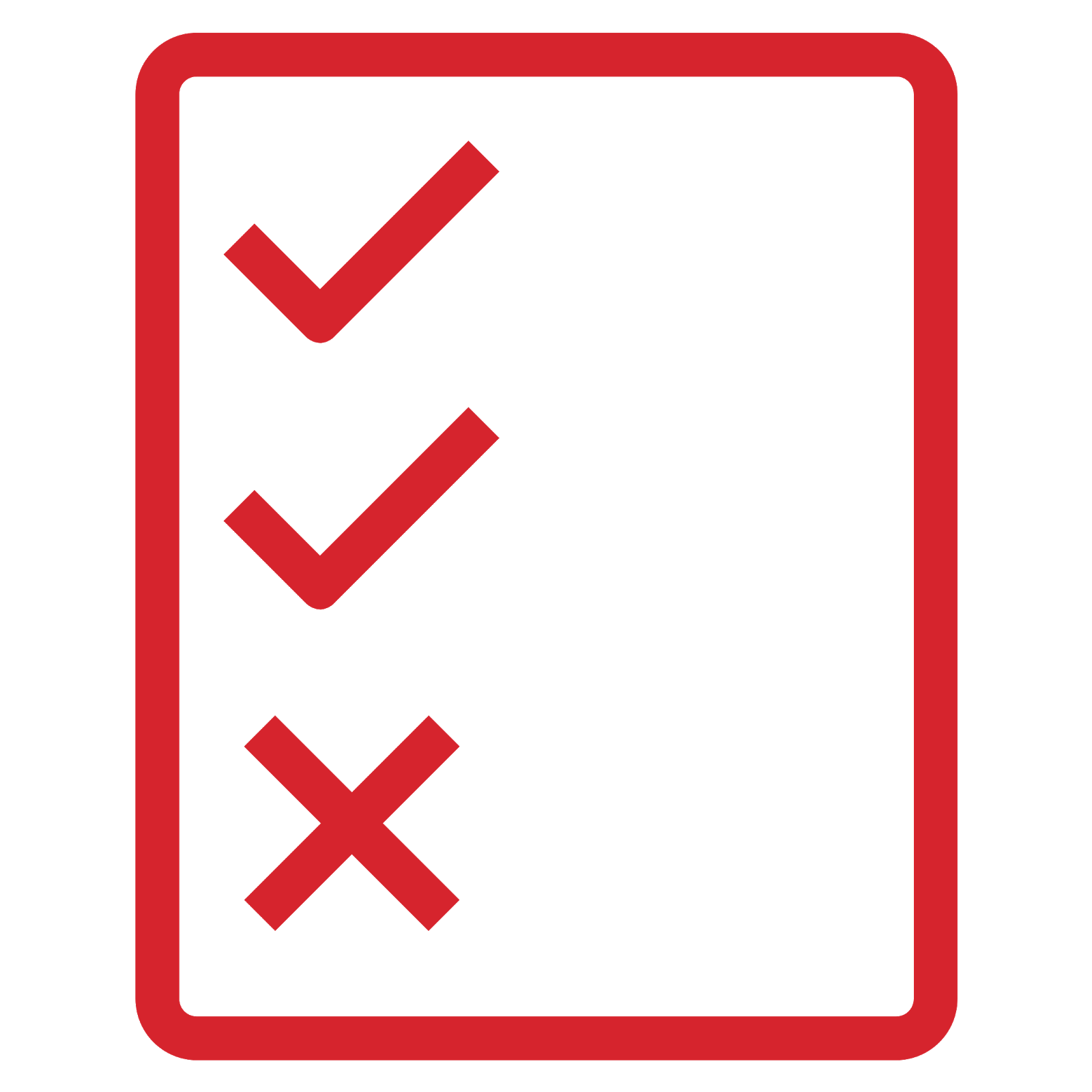 Policy icon depicting a rectangular sheet of paper, with a vertical column that includes two check marks and one X