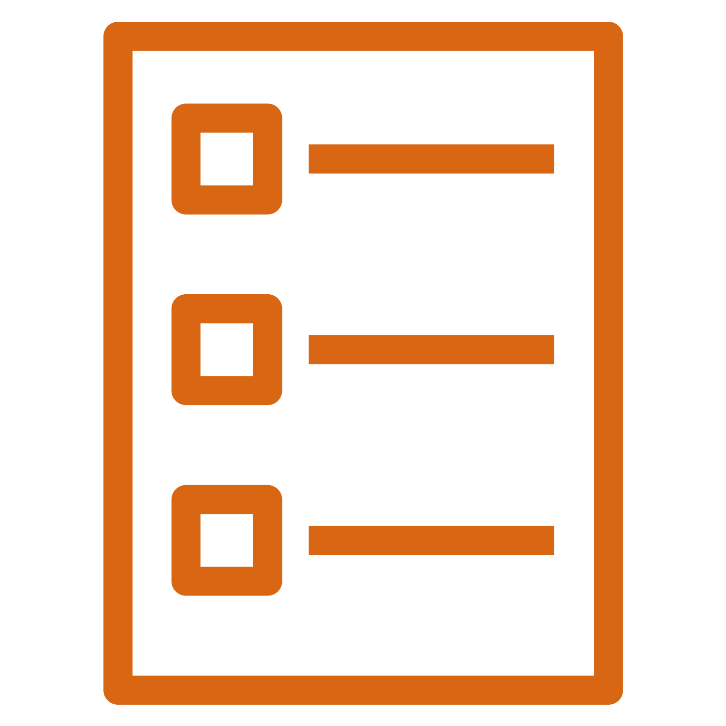 Icon depicting a checklist, with three rows consisting of a square checkbox and a horizontal line