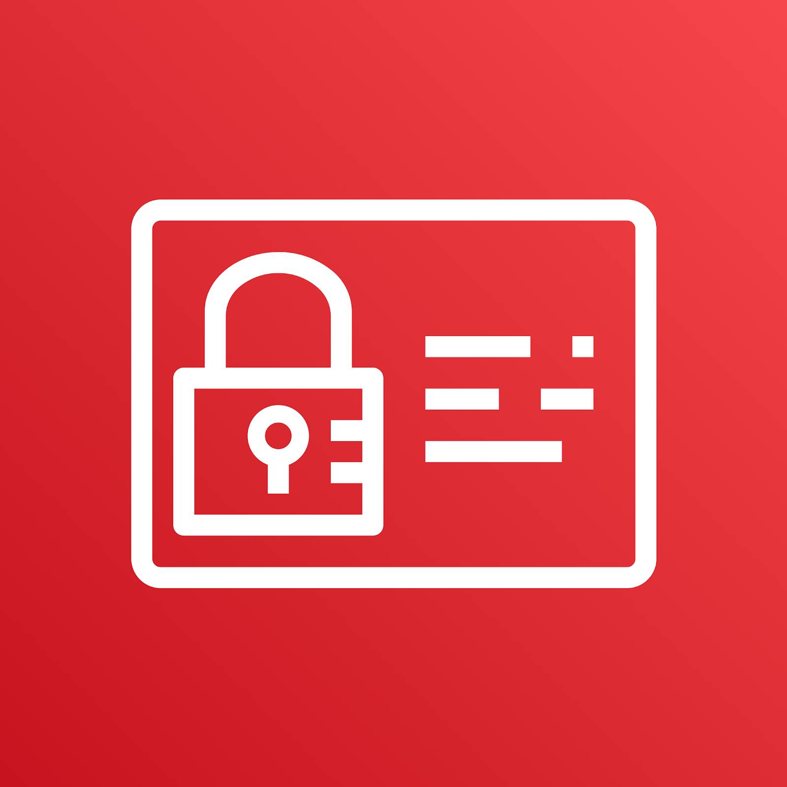 AWS Identity and Access Management icon depicting a lock and rectangular card against a red background