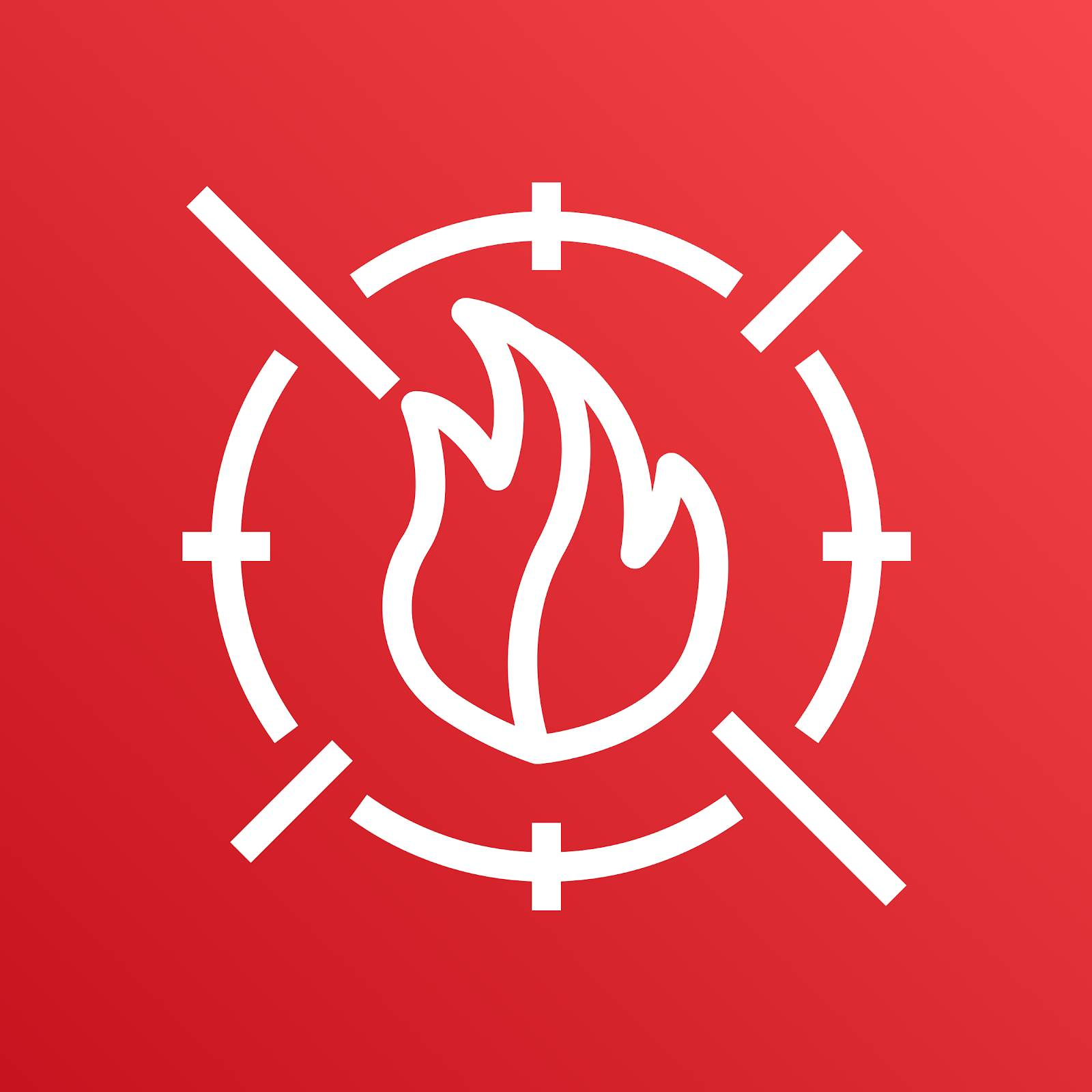 AWS WAF icon depicting a flame in the center of a circular target