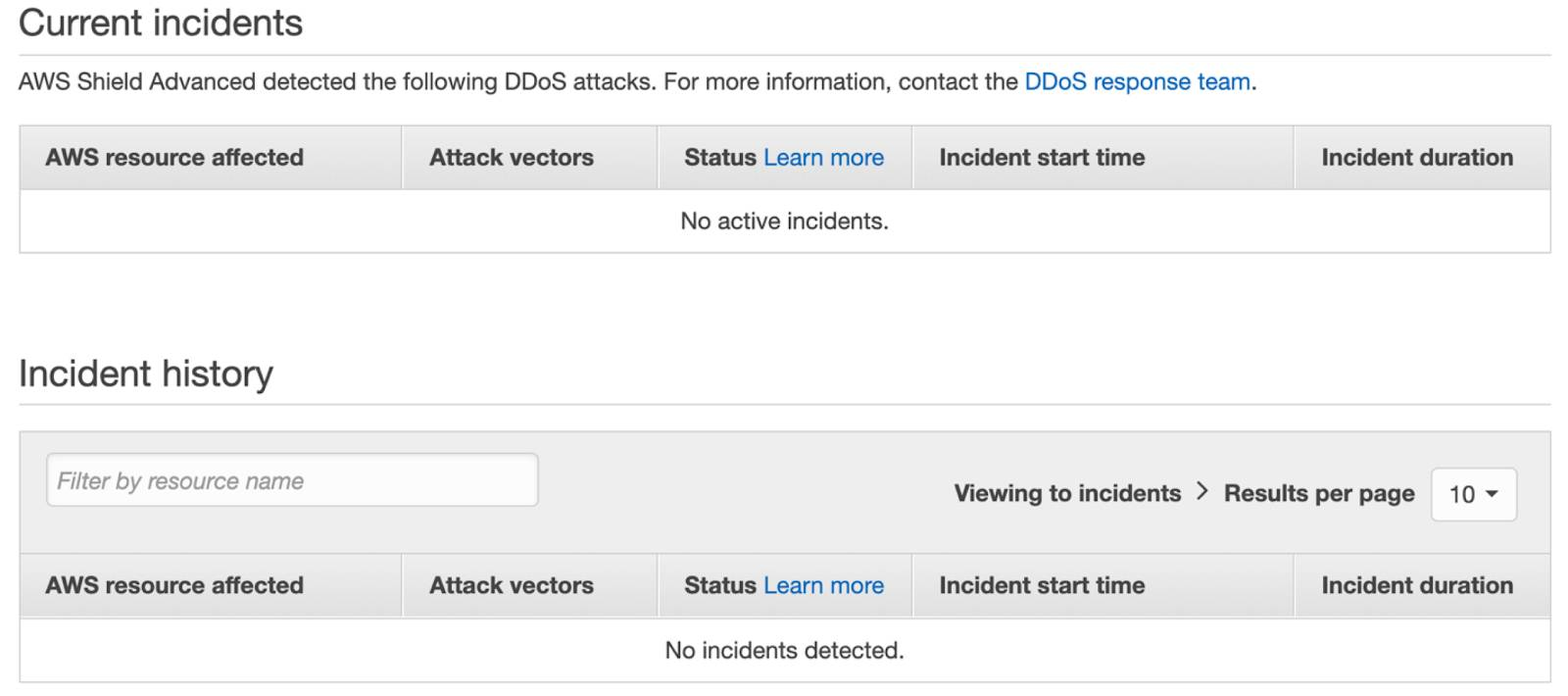 Screenshot of AWS Shield, displaying details for current incidents and the complete incident history