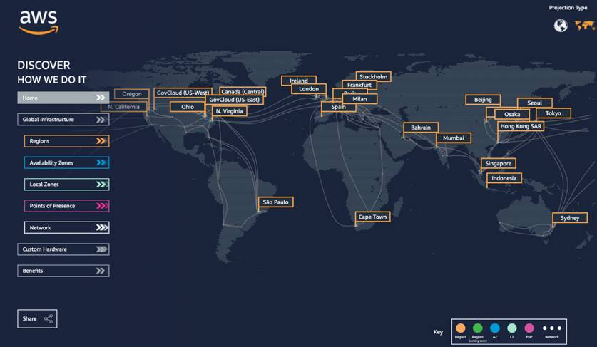 A map with all of the AWS regions across the globe