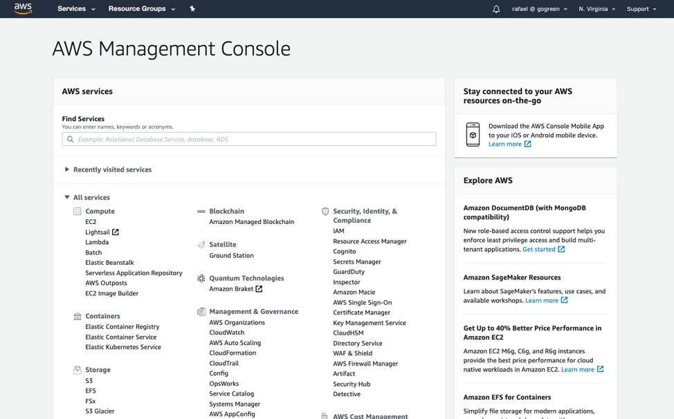 Screenshot of the AWS Management Console landing page