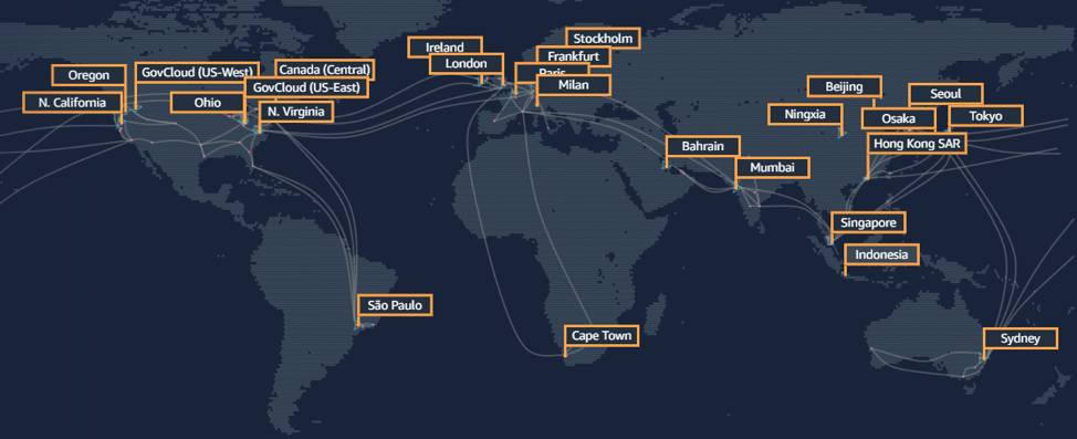 The AWS Global Infrastructure noting the geographic Regions.