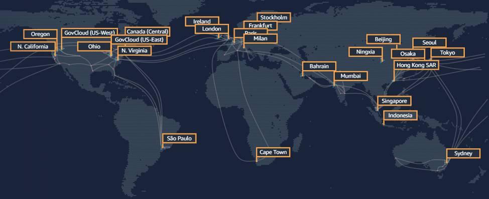 地理的なリージョンを示す AWS グローバルインフラストラクチャ。