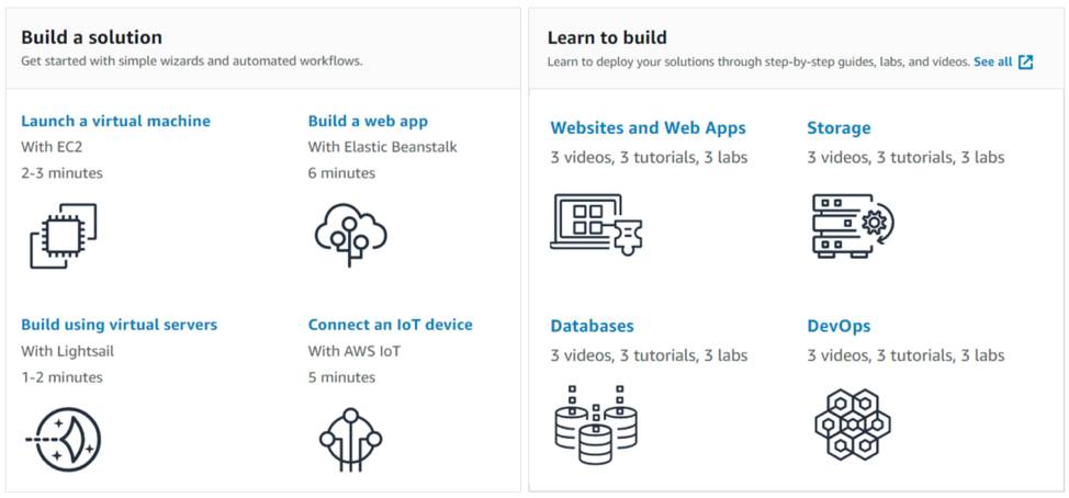 Build a solution and Learn to build sections on the AWS console page.