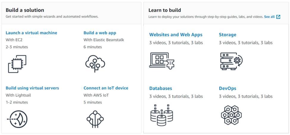 AWS コンソールページの [Build a solution (ソリューションの構築)] セクションと [Learn to build (構築方法の学習)] セクション。