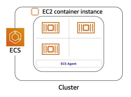 A cluster consisting of one EC2 Container instance, with the ECS agent installed on the instance. The instance is running three containers.