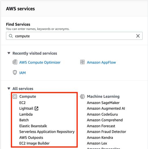 AWS services in the console with the list of eight compute services highlighted by a red box