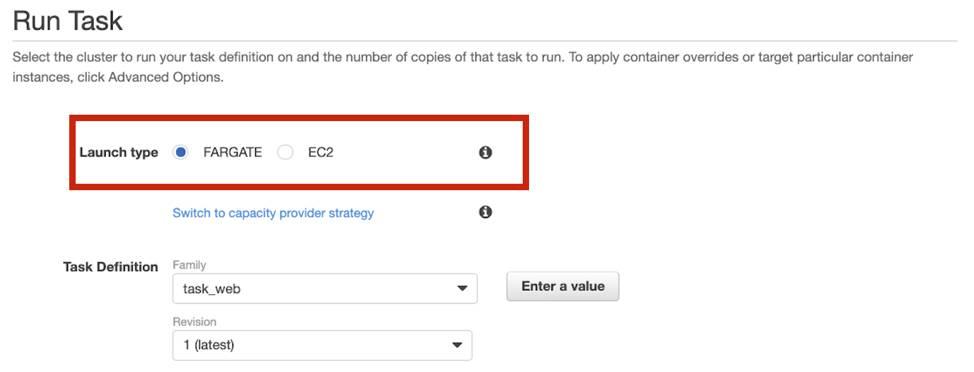 Screenshot of the Amazon ECS Console, where you select which mode you want to run in: Fargate mode or EC2 mode