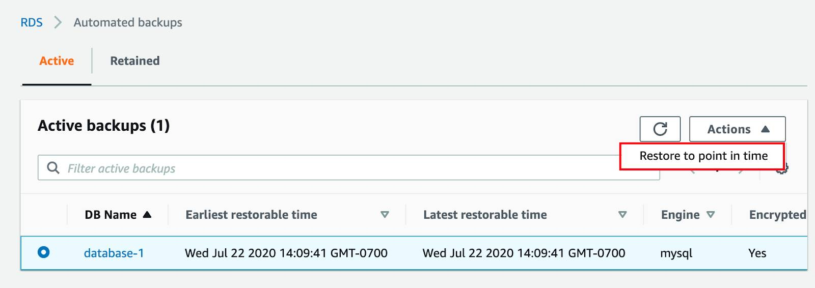 Choosing an automated backup to restore to a particular point in time.