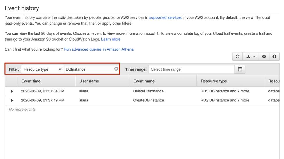 A screenshot of the AWS console that shows event history, with filter highlighted by a red box; Resource type is chosen from the dropdown, and DBInstance is selected
