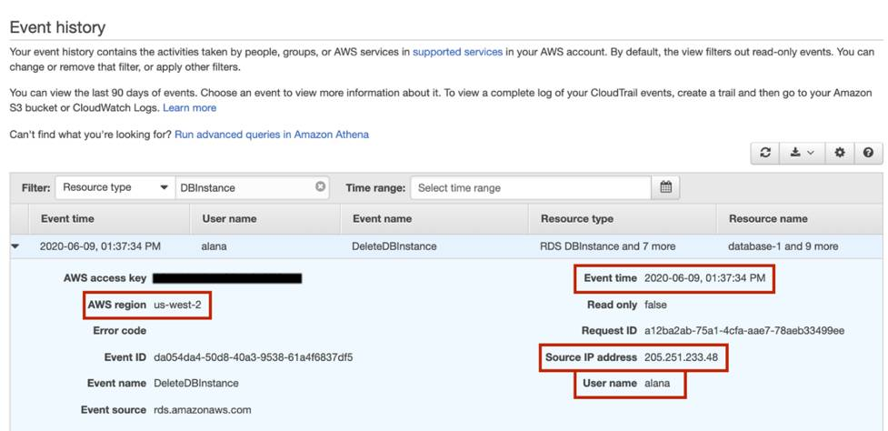 Details of an event with AWS region, Event time, Source IP address, and User name highlighted by red boxes