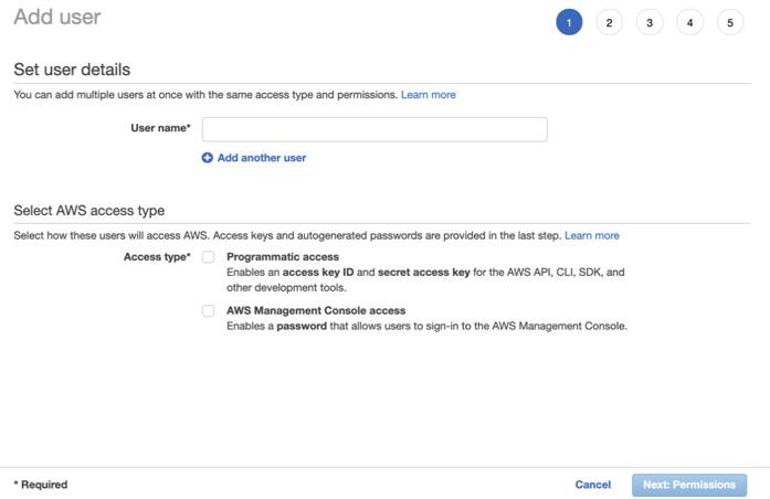 A screenshot of the IAM user creation process in AWS, showing a field for user name and checkboxes for access type