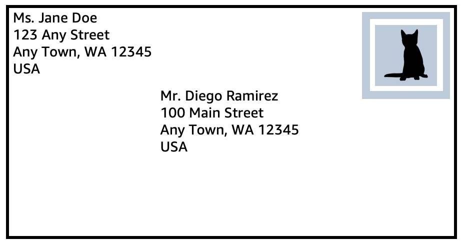 Envelope with the address of the sender, recipient, and a stamp