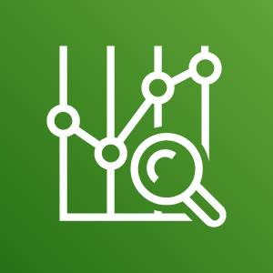AWS Cost Explorer icon depicting a line graph and magnifying glass against a green background