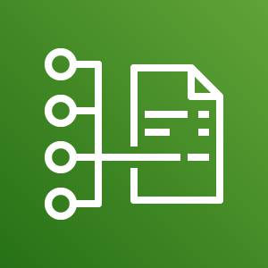 AWS Cost and Usage Report icon depicting a report pointing to one of four points against a green background