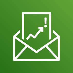AWS Budgets icon depicting an envelope with a protruding document showing a jagged arrow point upwards toward an exclamation point against a green background