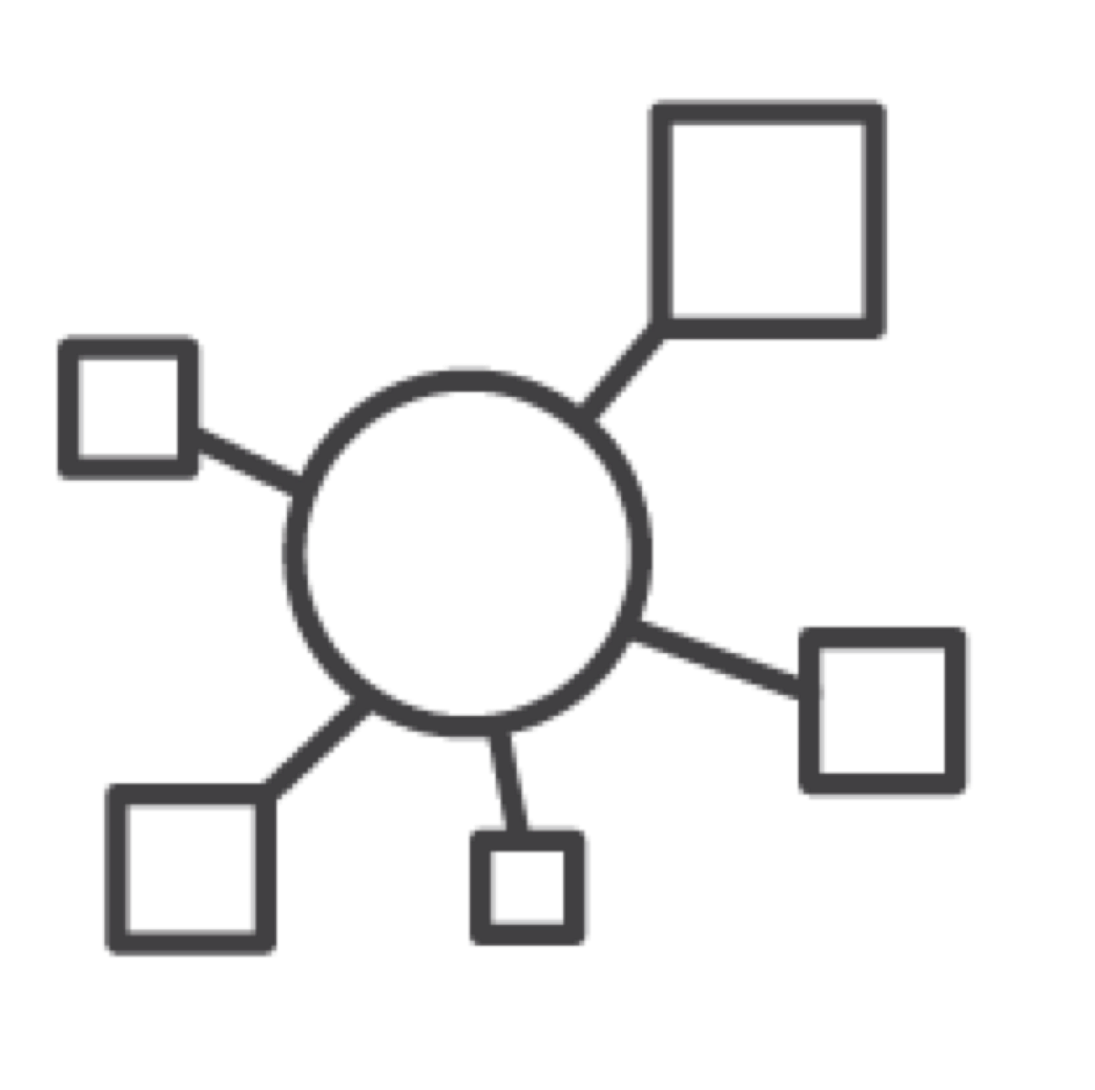 circle connected to five squares of different sizes